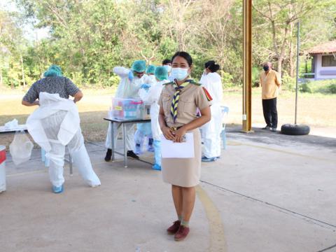 คณะเจ้าหน้าที่โรงพยาบาลศรีมหาโพธิ ตรวจหาเชื้อ โคโรนา ๒๐๑๙